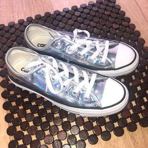 Silver iridescent converse